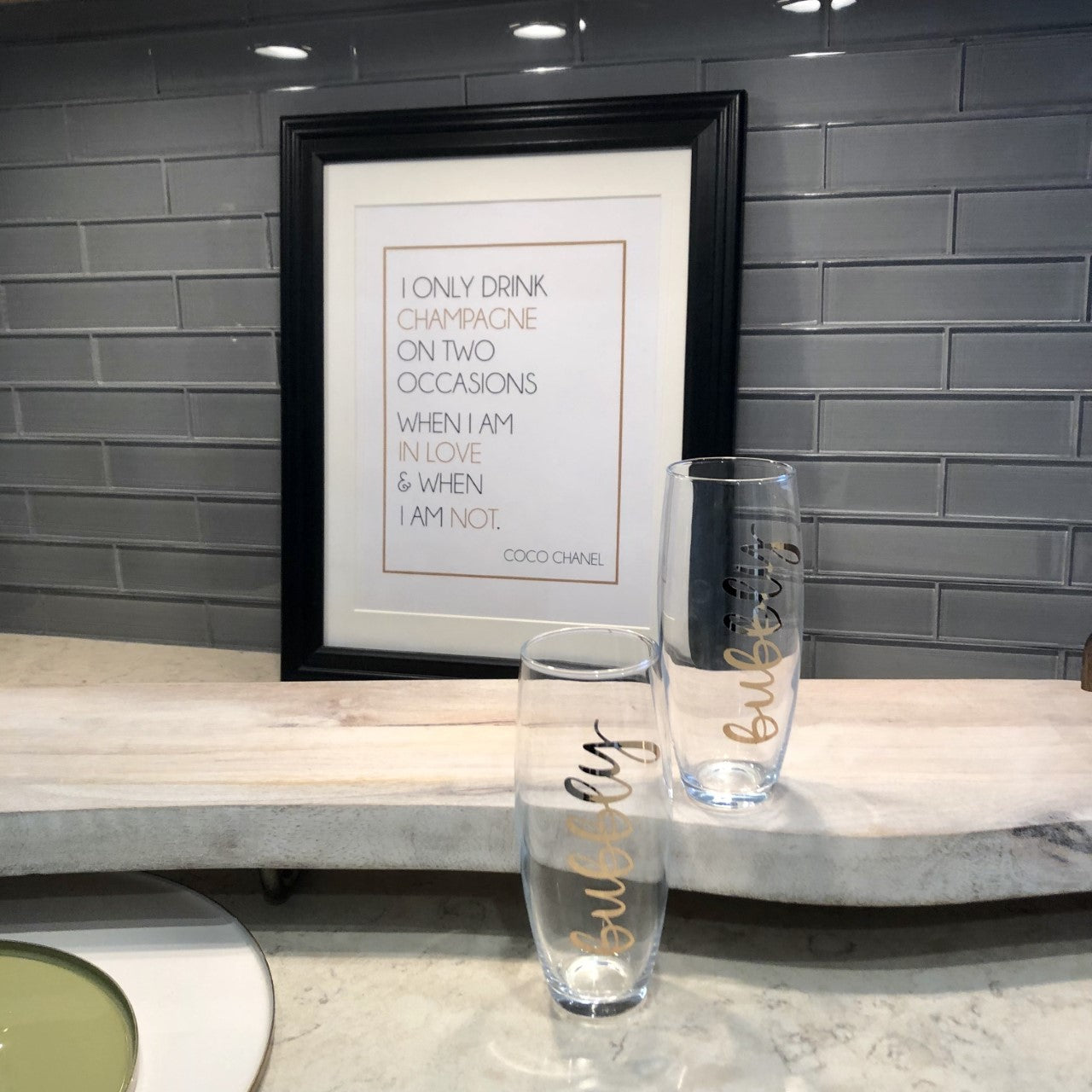 Coco Chanel Champagne Quote Framed Print
