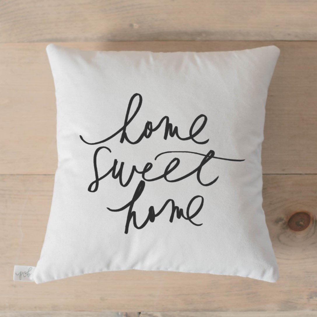 "Home Sweet Home White 18"" Calligraphy Pillow"