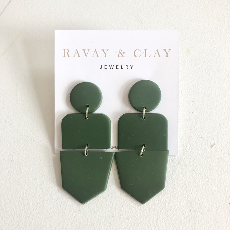 Hunter Green Clay Earrings