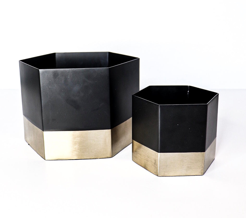 Black and Gold Metal Hexagon Tins