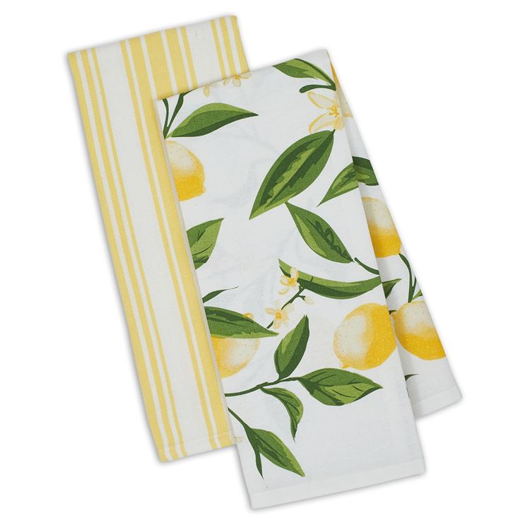 Lemon Bliss Yellow Hand Towel Set of 2