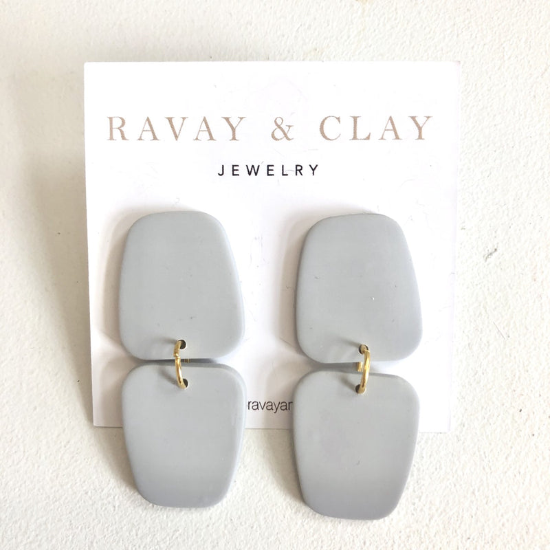 Light Grey Double Clay Earrings