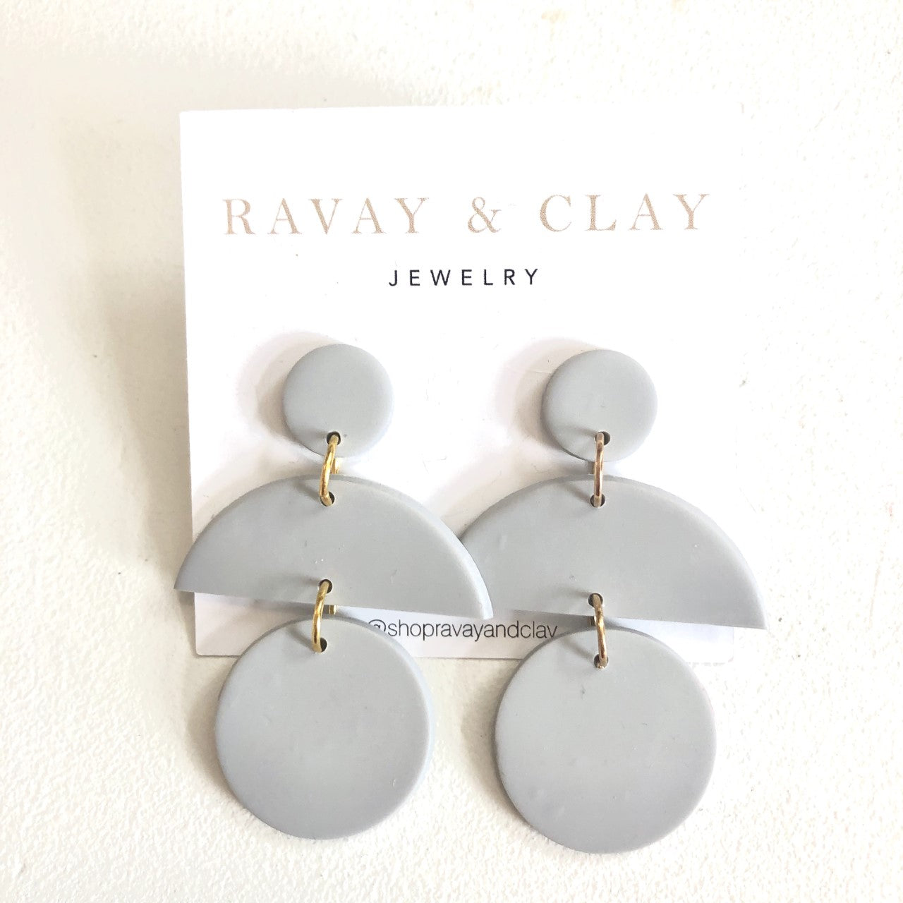 Light Grey Triple Clay Earrings
