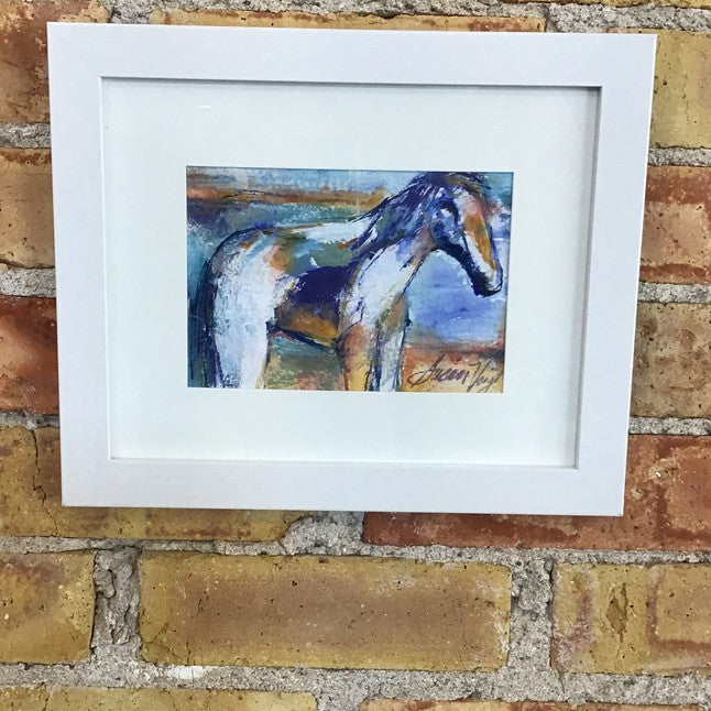 Mini Horse Framed Original Watercolor by Susan Voigt