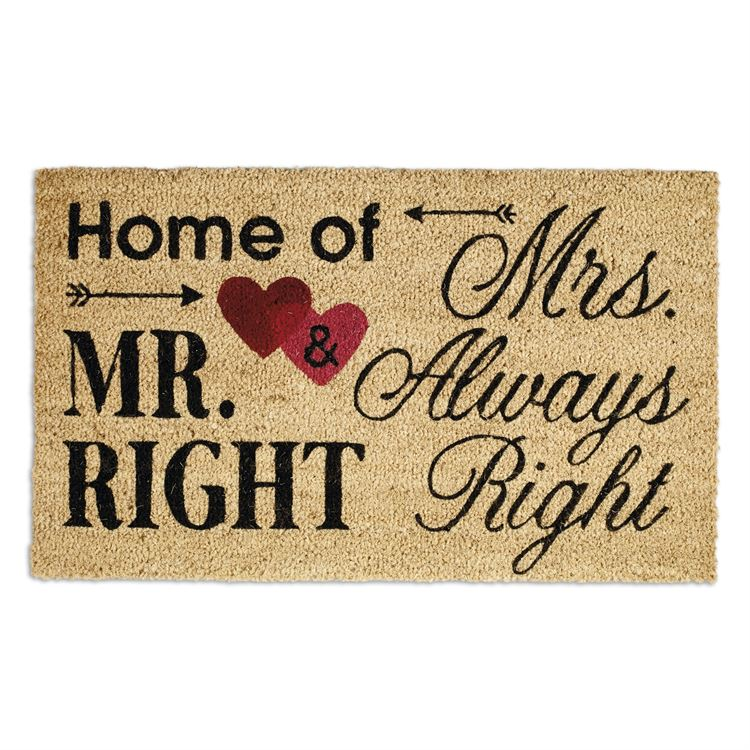 """Home of Mr Right and Mrs Always Right"" Entry Rug Doormat"