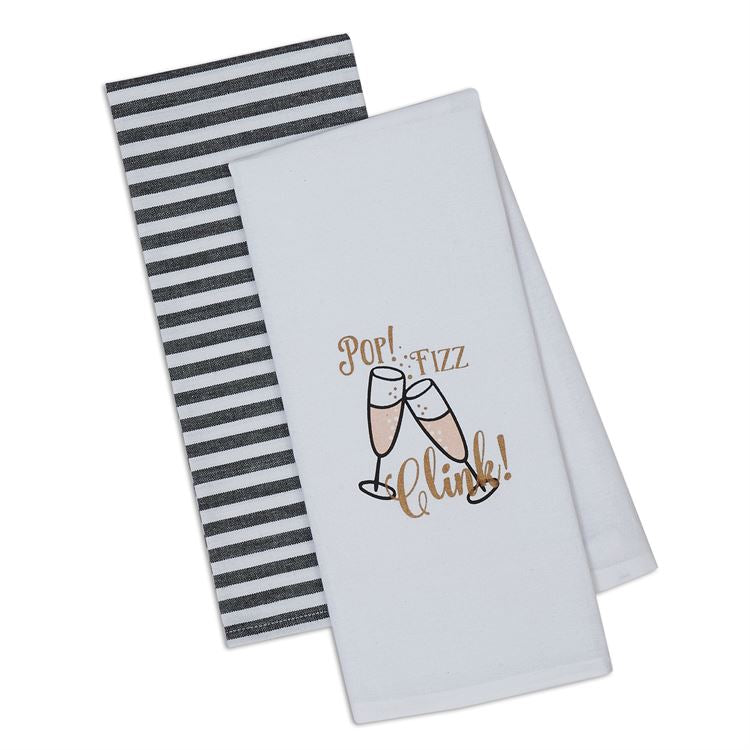 Pop Fizz Clink Dish Towel Set of 2