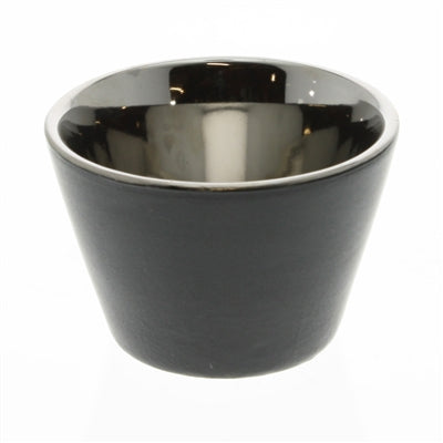 Raas Ceramic Votive Candle Cup - Black & Silver