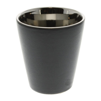Raas Ceramic Votive Candle Cup - Black & Silver Tall