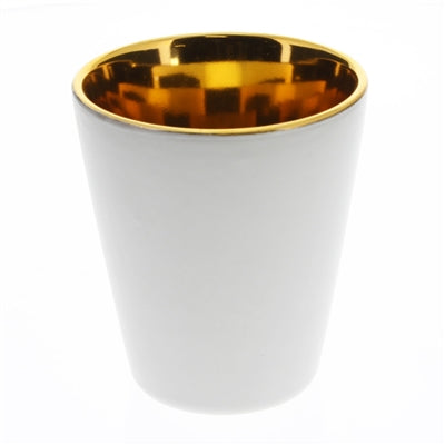 Raas Ceramic Votive Candle Cup - White & Gold Tall