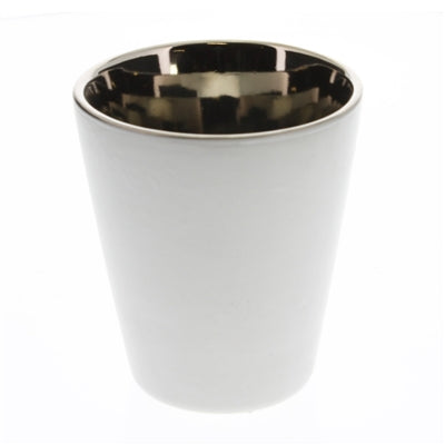 Raas Ceramic Votive Candle Cup - White & Silver Tall