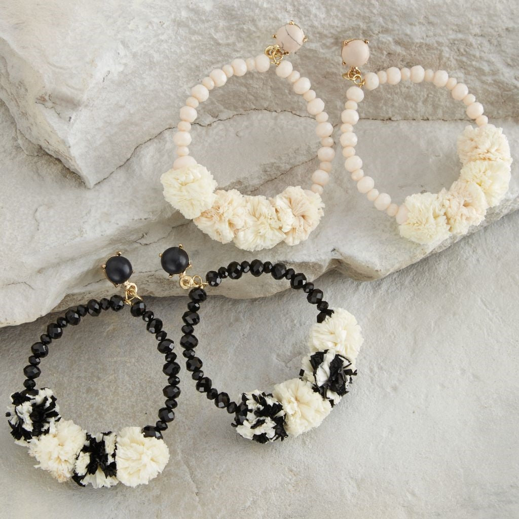 Raffia Pom Pom Hoop Earrings