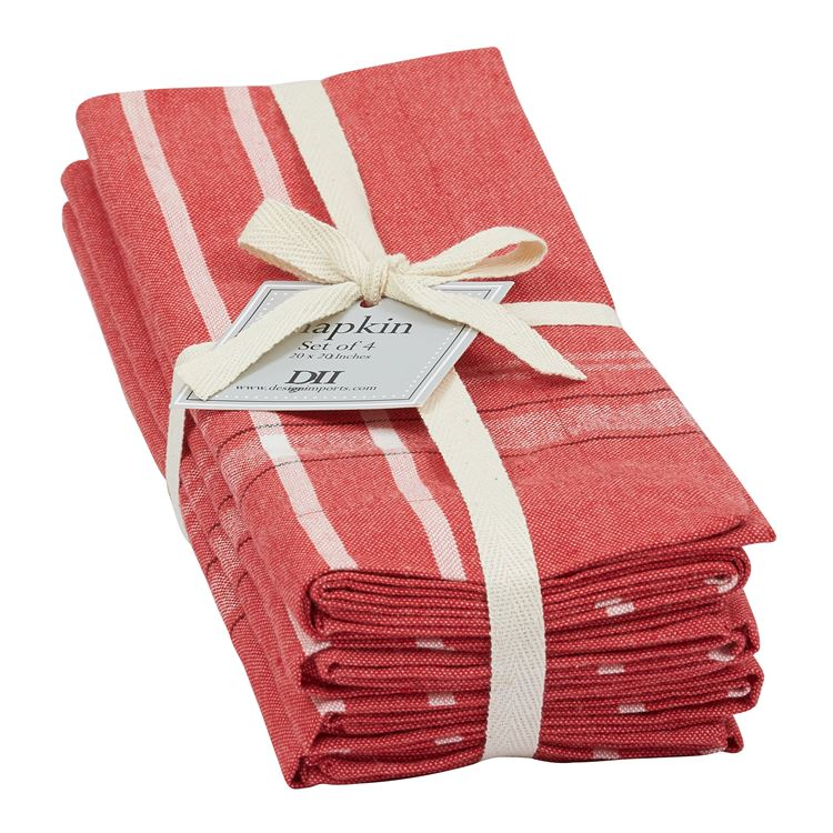 Tango Red French Chambray Napkins Set of 4