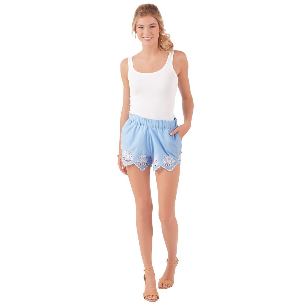 Etta Sky Blue Eyelet Shorts - Medium