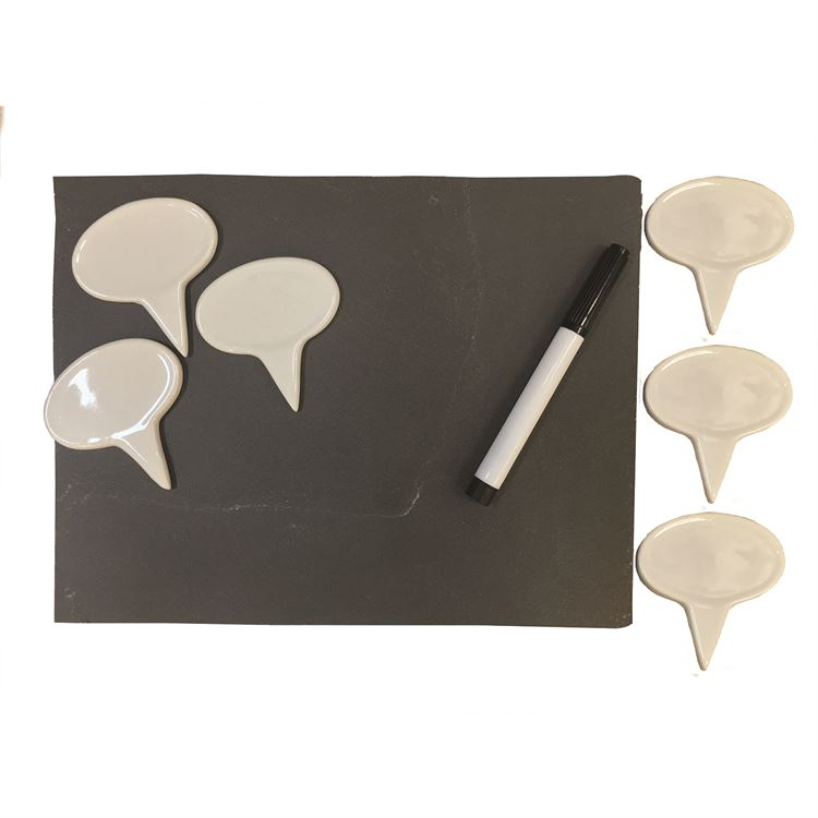 Porcelain Cheese Markers and Slate Cheese Board Set