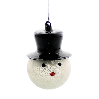 Glass Snowman Head Ornament