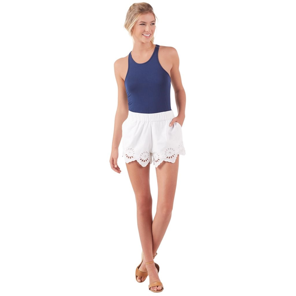 Etta White Eyelet Shorts