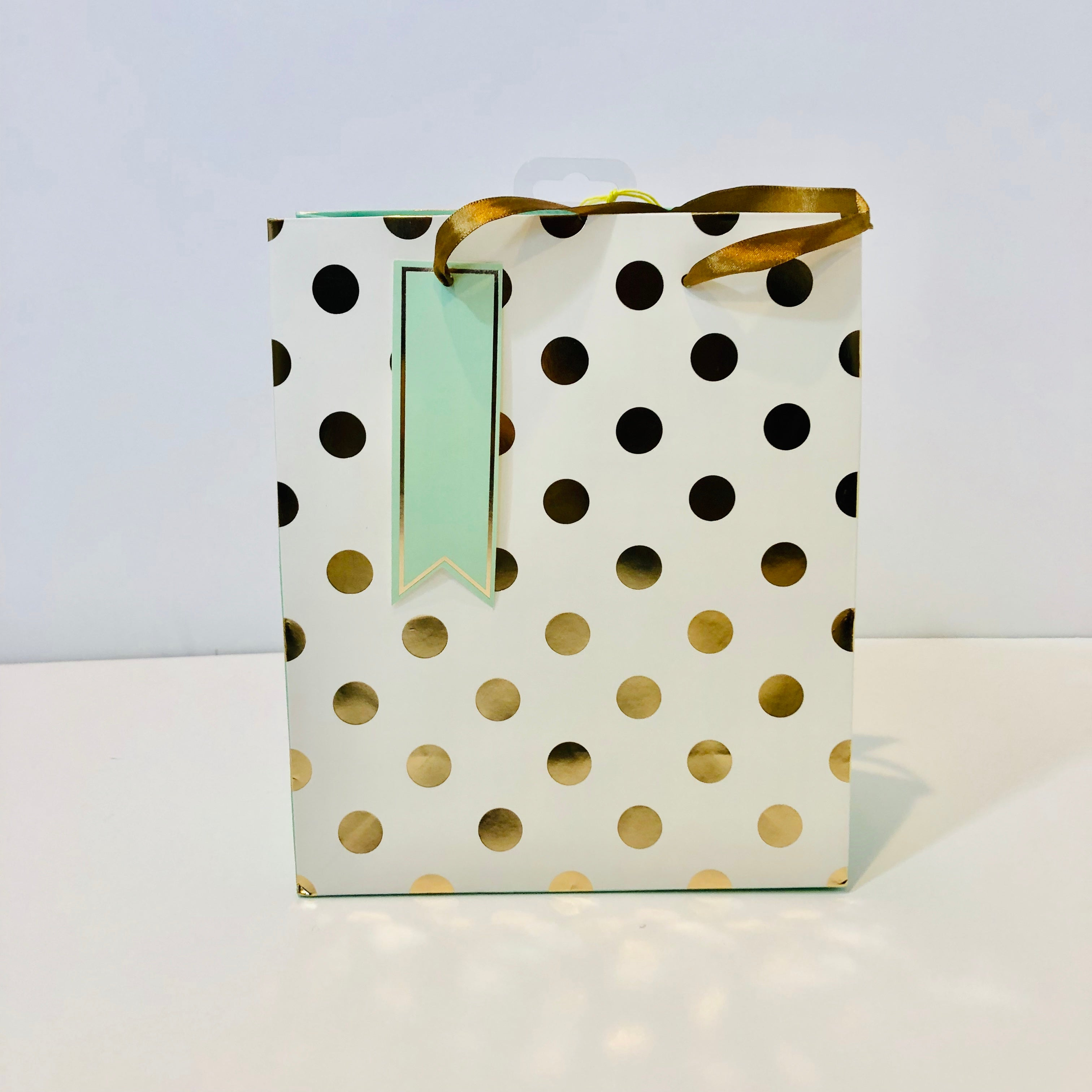 Gift Bag - White & Gold Polka Dot