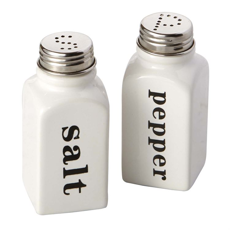 White Ceramic Salt & Pepper Shakers