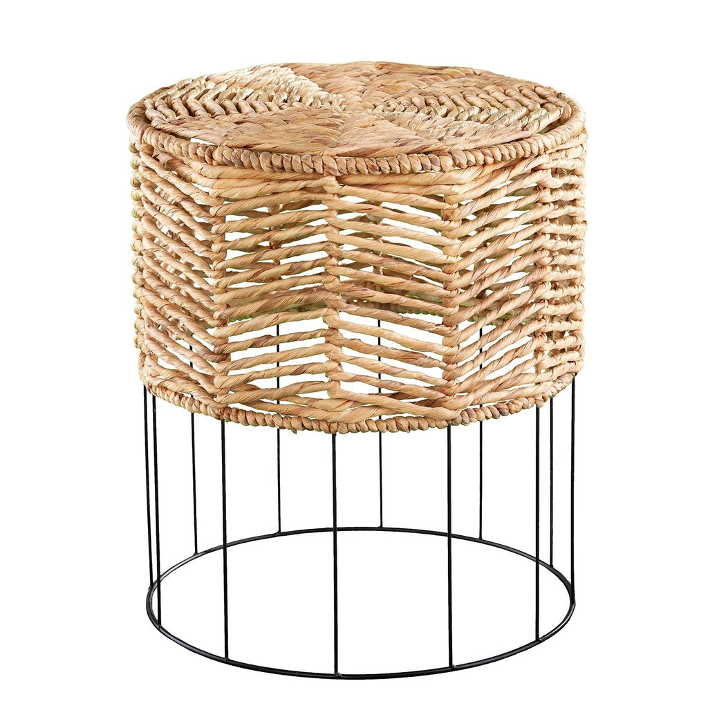 Coastal Bohemian Wicker Metal End Table