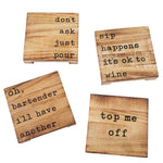Wood Planked Coaster Set