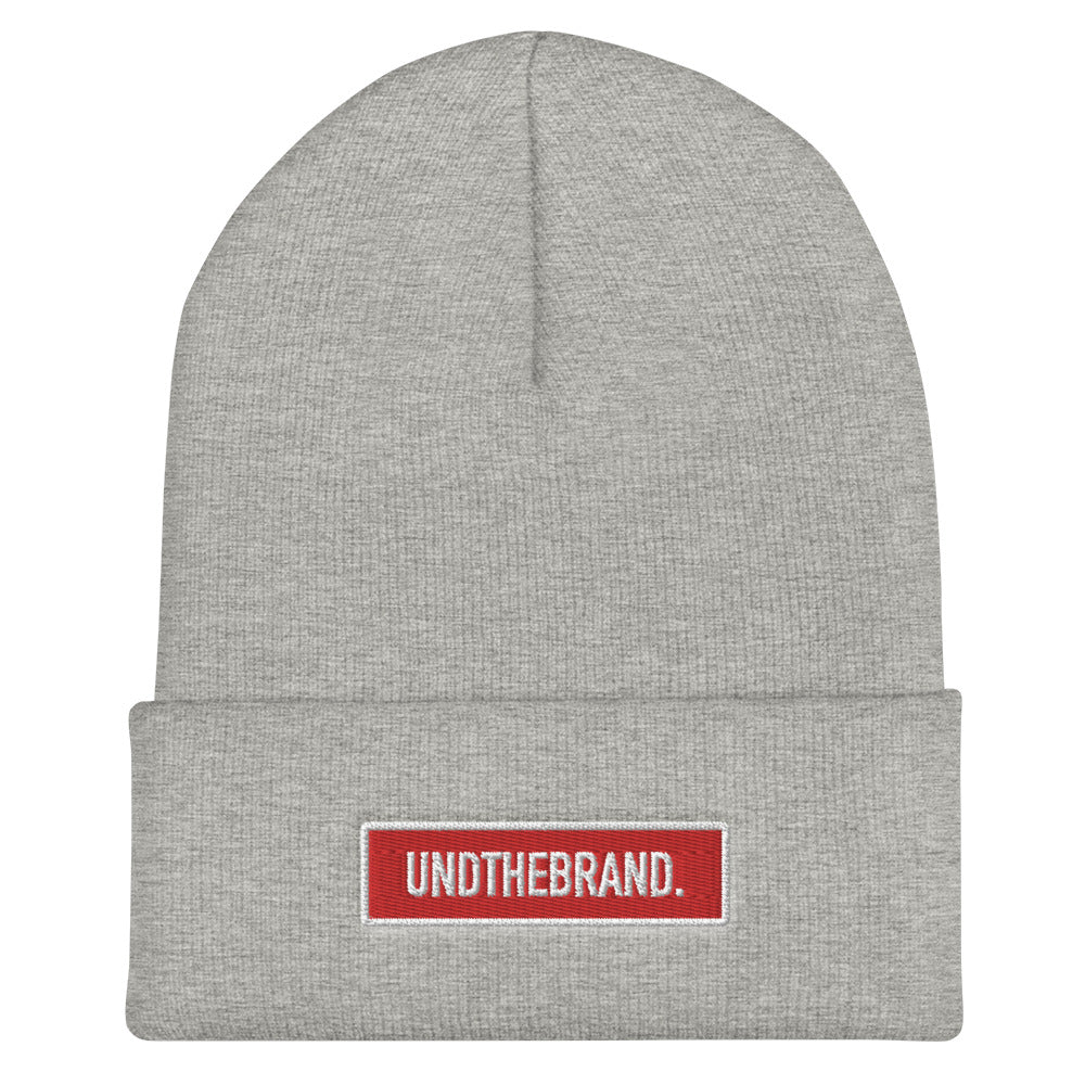 Classic Bar Beanie - Heather Grey/Red