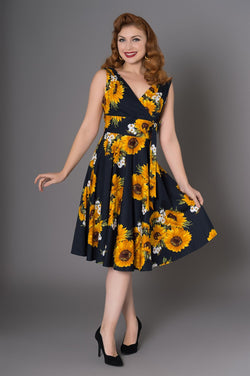 Sheen Ella sleeveless dress, sunflower design, black, front view