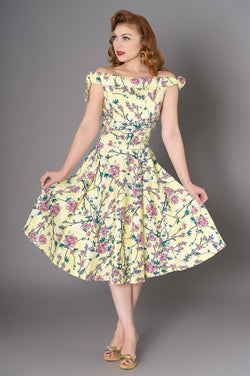 Sheen Zenith boat-neck dress, blossom print, pale yellow, front view