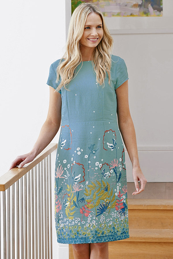 Lily and Me border print dress, teal, front view