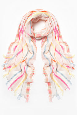 Ombre scarf, Ivory / Multi