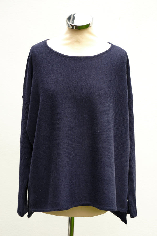 Button back jumper, Navy