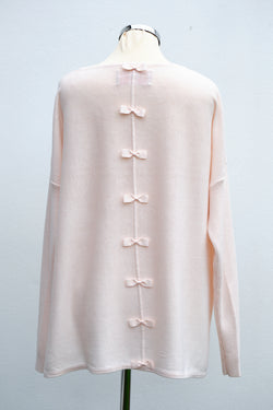 Bow back jumper, shell pink