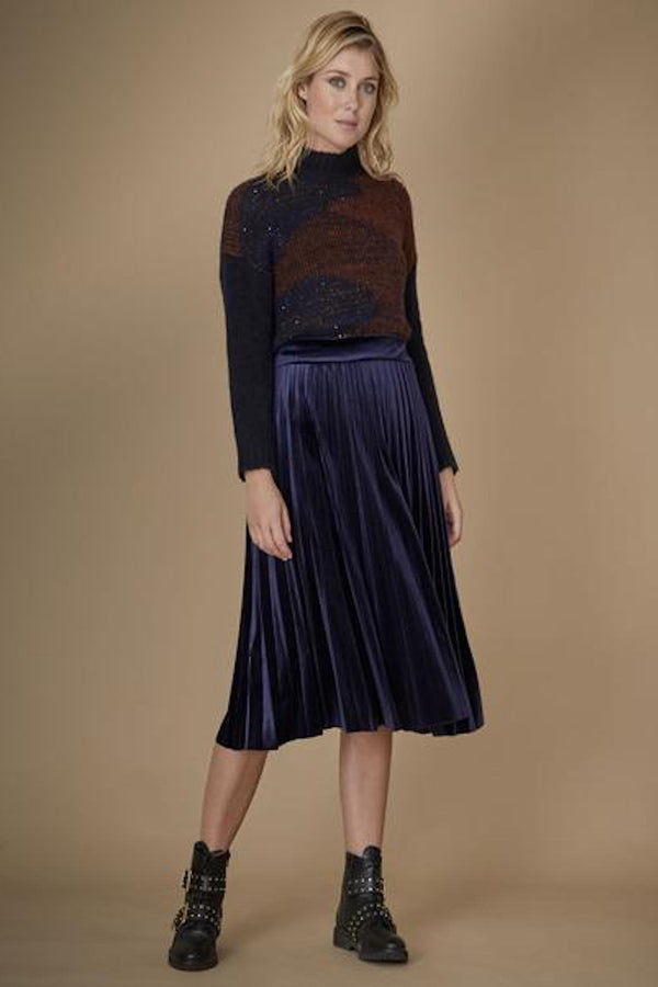 Pleated skirt, navy