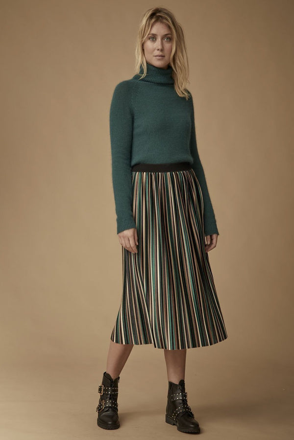 Plissée striped skirt, green