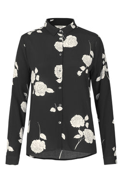 mbyM Klara floral print shirt, black and white, front view