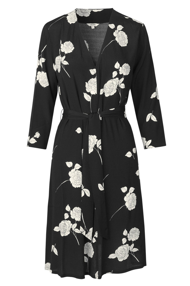 mbyM Diya floral shift dress, black, front view