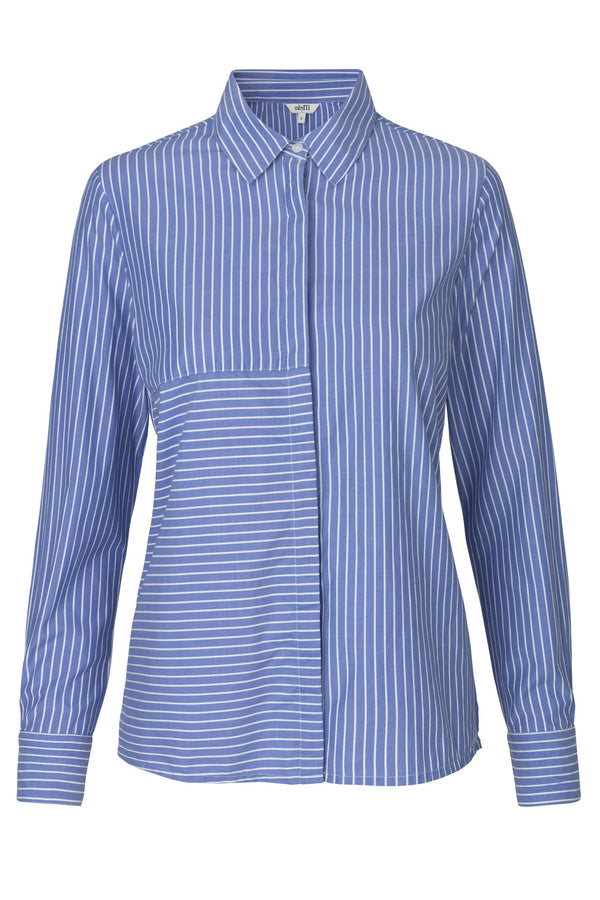 mbyM Contime classic shirt, blue and white stripe, front view