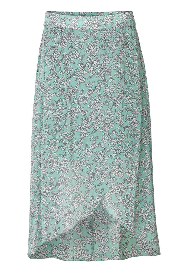 mbyM Caitlin wrapover floral skirt, pale green, front view