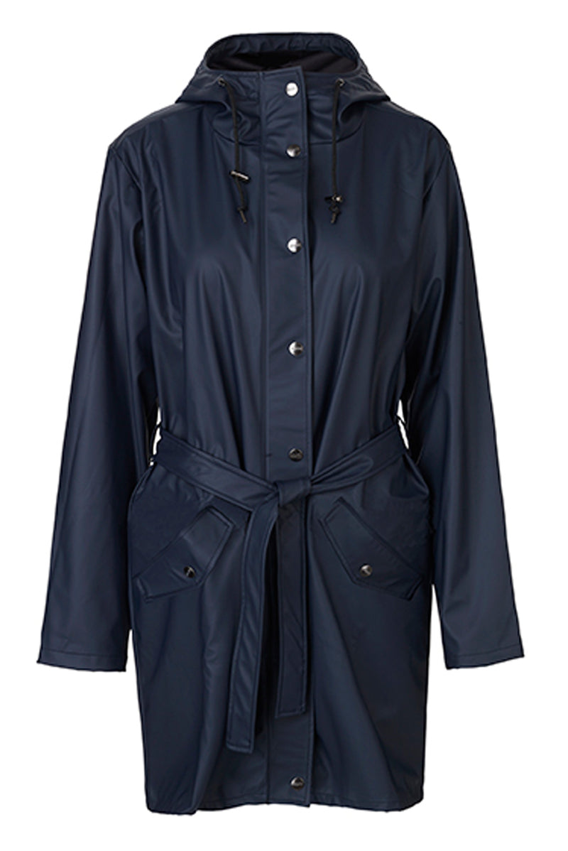 mbyM Festival raincoat, navy, front view