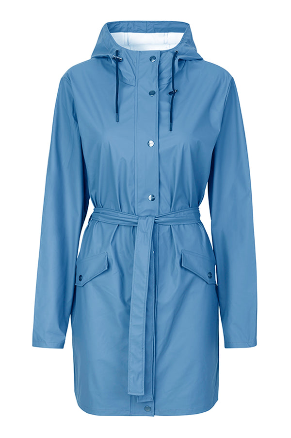 mbyM Festival raincoat, blue, front view