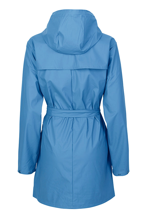 mbyM Festival raincoat, blue, rear view