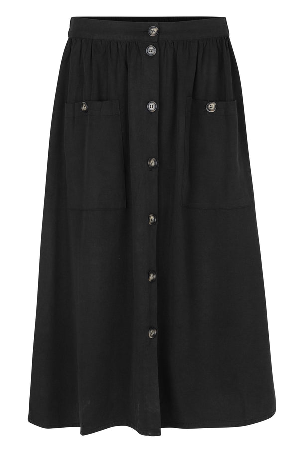 mbyM Annalee button through skirt, black, front view