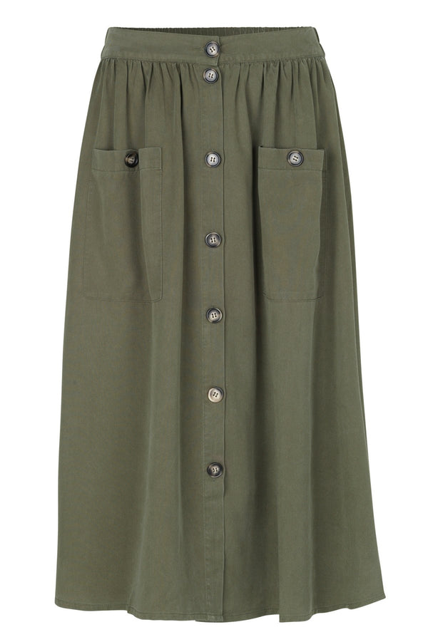 mbyM Annalee button through skirt, khaki, front view