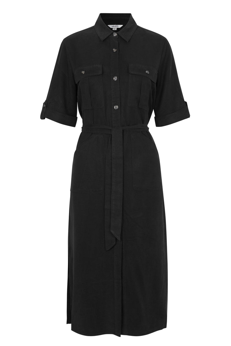 mbyM Eleena button through dress, black, front view
