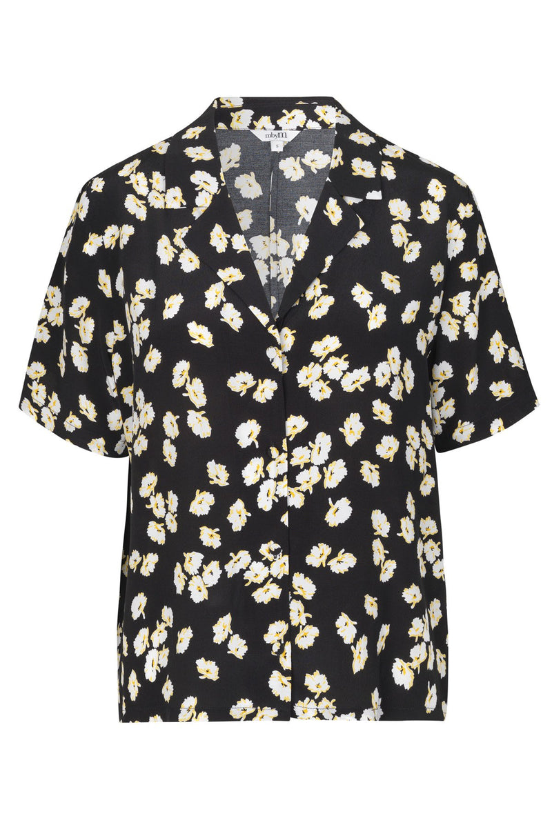 mbyM Mirra floral print short sleeved blouse, black, front view
