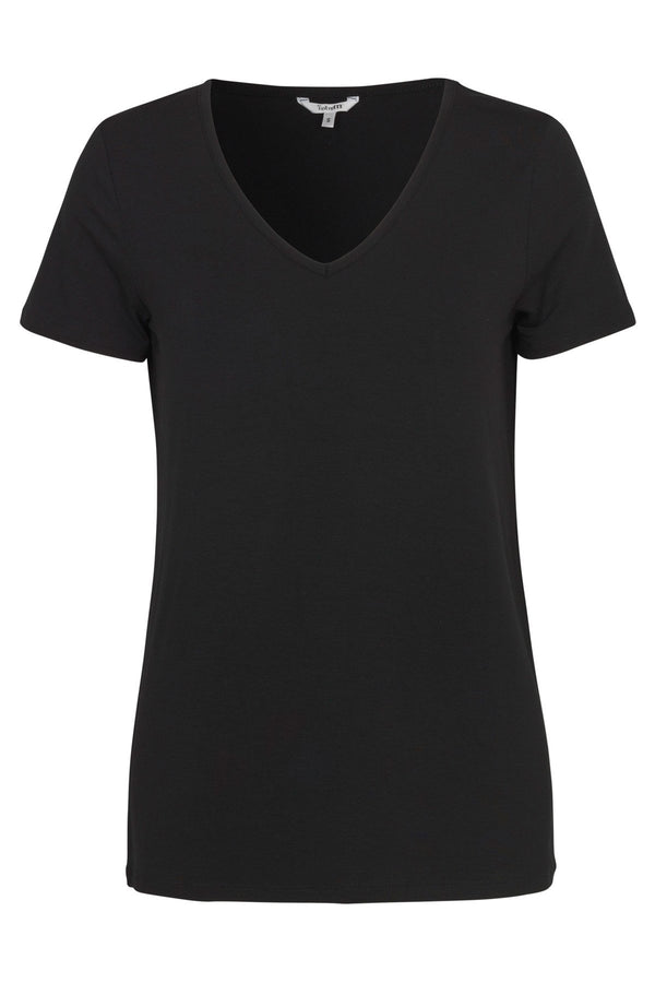 mbyM Queenie tee shirt top, black, front view