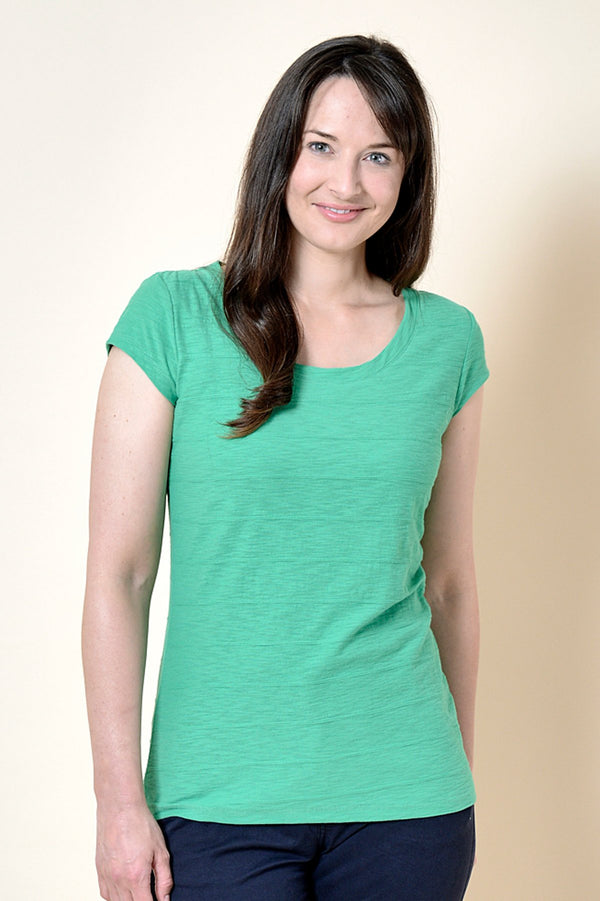 Lily and Me Cockles ribbed tee shirt, green