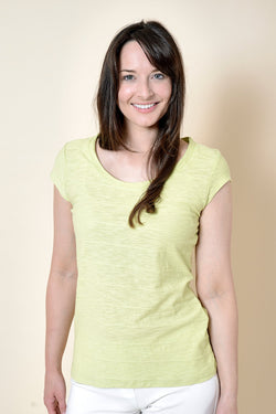 Lily and Me Cockles ribbed tee shirt, lime