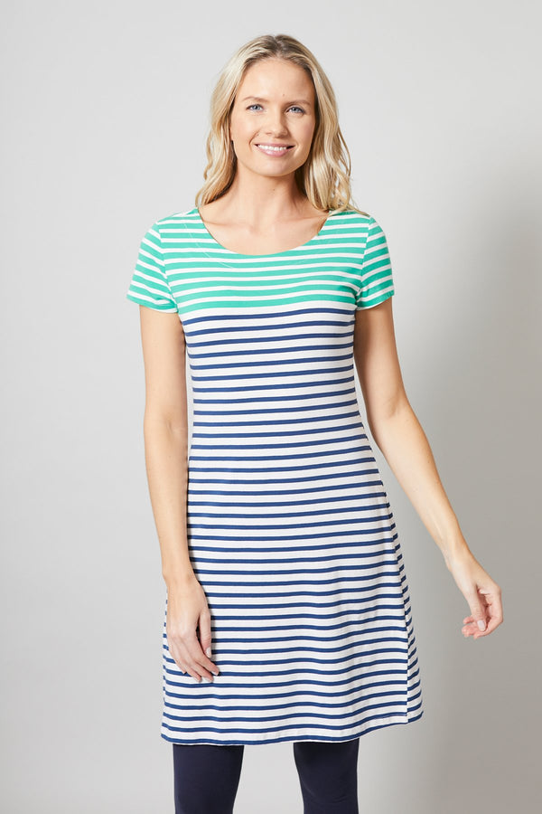 Lily and Me Stripe dress, navy and green, front view