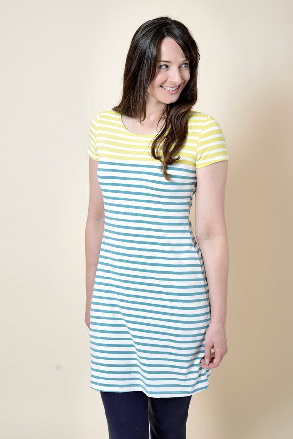 Lily and Me Stripe dress, lemon and teal, front view