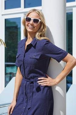 Lily and Me shirt dress, navy, front view